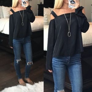 Harlowe & Graham Black Cold Shoulder Top